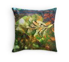 Gingko broken leaf collage Throw Pillow