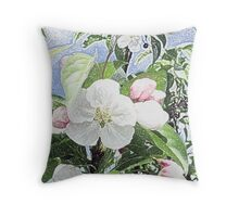 cherry blossoms in colored pencil Throw Pillow