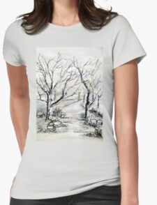 Trees in winter  Womens Fitted T-Shirt