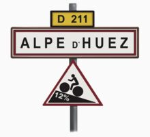 Alpe D'Huez Cycling Gradient Road Signs  by movieshirtguy