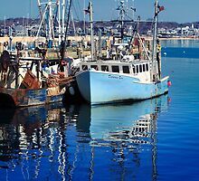 Patience Too Blue Fishing Boat by capecodart