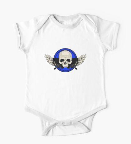 Wing Skull - BLUE One Piece - Short Sleeve