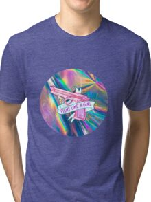 "Holographic ""fight like a girl"" Tri-blend T-Shirt"