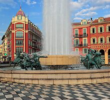 Place Massena Fountain by Inge Johnsson
