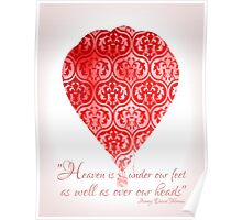 Red Hot Air Balloon Inspirational Literary Henry David Thoreau Quote Typography Art Print Poster