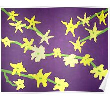 Blossoms: Yellow and Purple Poster