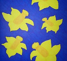 Pop Art Daffodils in Bold Blue by DanielleGensler