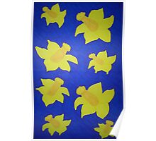 Pop Art Daffodils in Bold Blue Poster