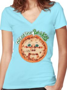 Nicotine Patch Kids Women's Fitted V-Neck T-Shirt