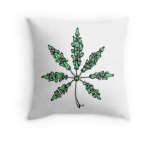 Marijuana Leaf Made of Mushrooms (green version) Throw Pillow