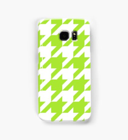 LimeGreen Large Houndstooth Samsung Galaxy Case/Skin