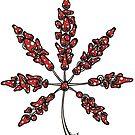 Marijuana Leaf Made of Mushrooms (red version) by Brett Gilbert