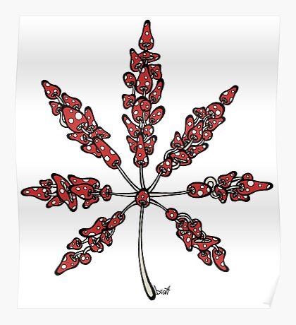 Marijuana Leaf Made of Mushrooms (red version) Poster