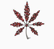 Marijuana Leaf Made of Mushrooms (red version) Unisex T-Shirt