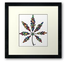 Marijuana Leaf Made of Mushrooms (multi-color version) Framed Print