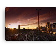 Munich Hackerbrücke Sunset Canvas Print