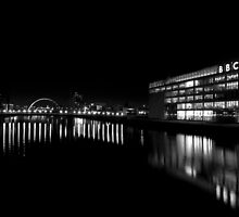 BBC Scotland and the Clyde at Night by Kasia-D
