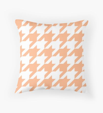 Peach Large Houndstooth Throw Pillow