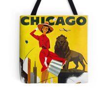 Chicago Vintage Travel Poster Restored Tote Bag