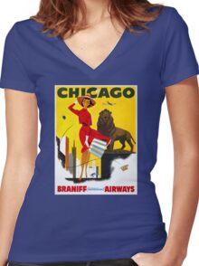 Chicago Vintage Travel Poster Restored Women's Fitted V-Neck T-Shirt