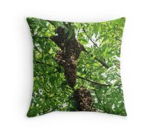 Swarming bees Throw Pillow
