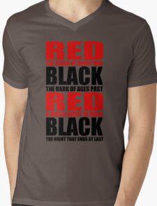 Red & Black Mens V-Neck T-Shirt