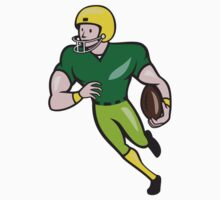 American Football Receiver Running Isolated Cartoon by patrimonio