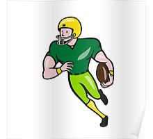 American Football Receiver Running Isolated Cartoon Poster