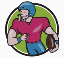 American Football Receiver Running Circle Cartoon by patrimonio