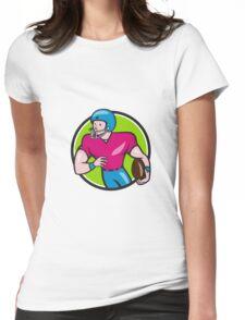 American Football Receiver Running Circle Cartoon Womens Fitted T-Shirt