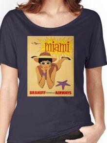 Miami Vintage Travel Poster Restored Women's Relaxed Fit T-Shirt