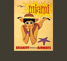 Miami Vintage Travel Poster Restored Unisex T-Shirt