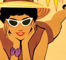 Miami Vintage Travel Poster Restored Sticker