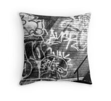Graffiti in B&W Throw Pillow