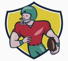 American Football Receiver Running Shield Cartoon by patrimonio