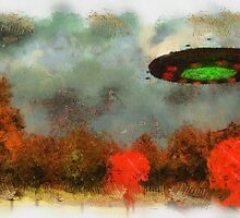 UFO Invasion Small Town by Raphael Terra by esotericaart