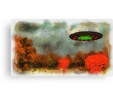 UFO Invasion Small Town by Raphael Terra Canvas Print