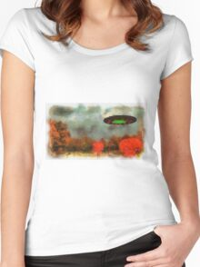 UFO Invasion Small Town by Raphael Terra Women's Fitted Scoop T-Shirt