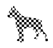 Racing Checkered Flag Bulldog Design Black and White Check Racer Dog Pattern 2 by Saburkitty