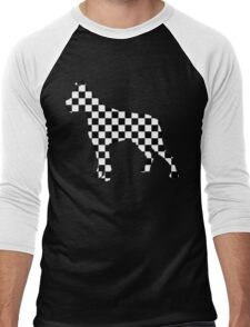Racing Checkered Flag Cane Corso Mastiff Design Black and White Check Racer Dog Pattern 2 Men's Baseball ¾ T-Shirt