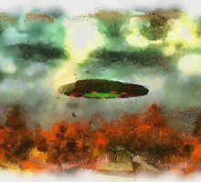 UFO Invasion Small Town 2 by Raphael Terra by esotericaart