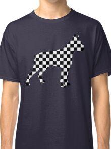 Racing Checkered Flag Cane Corso Mastiff Design Black and White Check Racer Dog Pattern 1 Classic T-Shirt