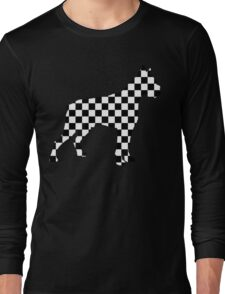 Racing Checkered Flag Cane Corso Mastiff Design Black and White Check Racer Dog Pattern 1 Long Sleeve T-Shirt