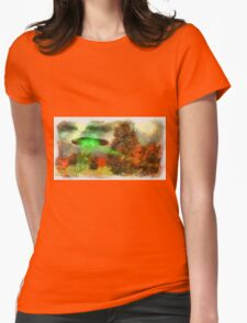 UFO Invasion Small Town 3 by Raphael Terra Womens Fitted T-Shirt