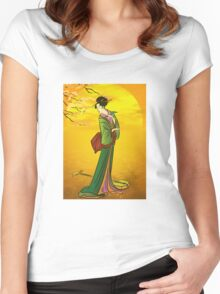 Beautiful Japanese girl Women's Fitted Scoop T-Shirt