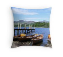 Boating - derwent water, Keswick Throw Pillow