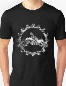 Biker Black and White Gray Batik Boshi Shibori on Dark Gray Motorbike Speckled Mottled Print  2 Unisex T-Shirt