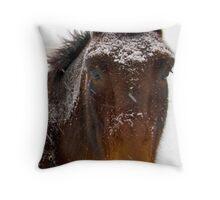 Snow Horse Throw Pillow