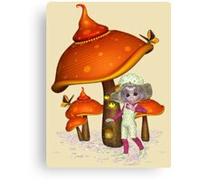 Fairy with magical mushroom, tee shirt Canvas Print