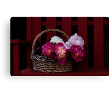 Basket on a Bench Canvas Print